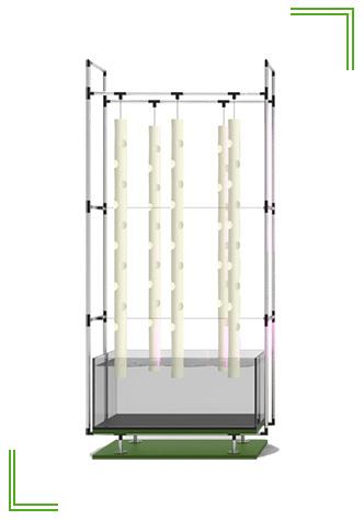 impianto acquaponico con vertical towers